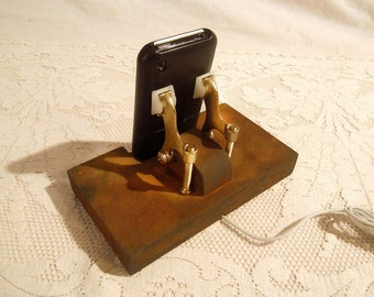 Super Sale Today - iPhone - iPod Dock -Charger and Sync Station - Rusty Finish - Brass style V1