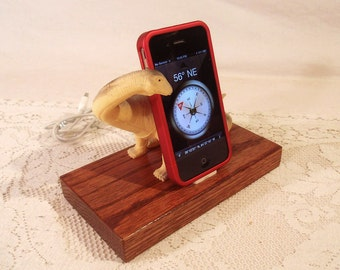iPhone - iPod Dock -Charger and Sync Station - Oak -  Big Tan Grey Dino - Scary - One of a Kind