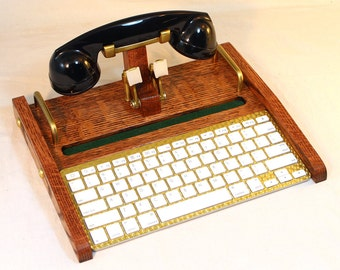 iPad Retro Headset Workstation  - Tablet  Dock -Phone- Keyboard -Oak- iPad, IPhone, Tablet Bluetooth Keyboard Headset Computer Desktop