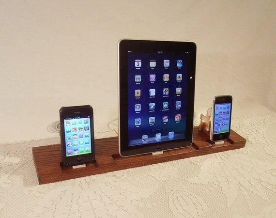 TRIPLE Unit - iPad - iPhone - iPod - Dock - Sync and Charging iDock Station- Custom Built Oak Model..