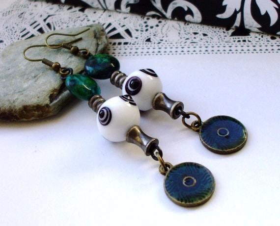 Steampunk Chrome Lampwork Earrings Dangles Emerald Green - The Absinthe Cadet