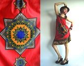 Peruvian Princess 70s Ethnic Bohemian Sundress for Those with Blue Blood in Red, Indigo, Orange and Black size S/M/L - agnestheowl