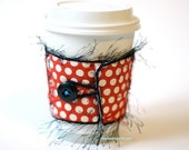 Eco Friendly Reusable Coffee Cup Cozy with Red Polka Dots