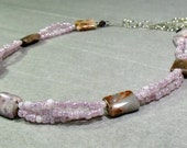 Purple Crazy Lace Agate Pillows Braided Necklace