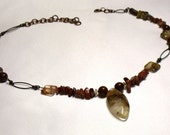 Burned Orange Brecciated Jasper Necklace with Quartz Pendant