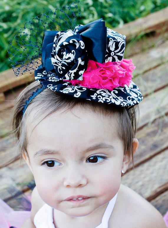 Mini Top Hats- Fabric Covered- Black and White Damask- Photo Prop, Costume, Parties