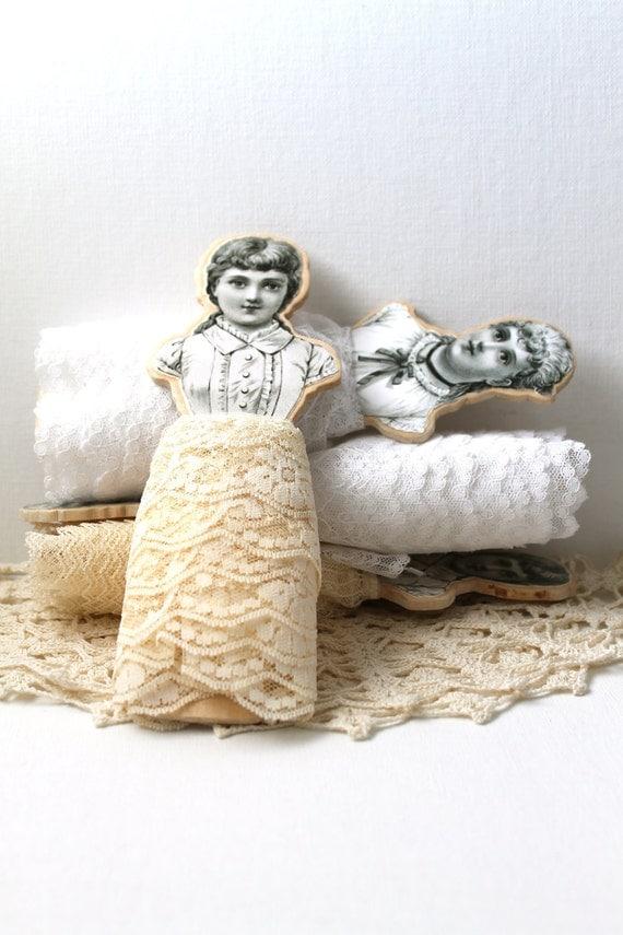 Кружева Организатор деревянные катушки с кружевами ручной включены Vintage стиль викторианской Аксессуары номер швейный набор из двух