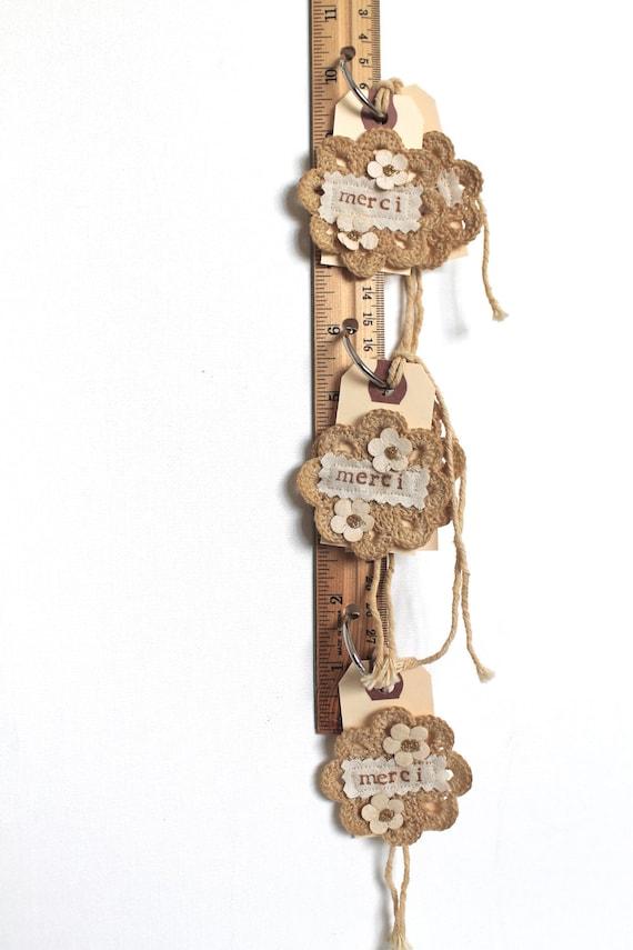 Подарочные Метки ручной французского Vintage Style вязания кофе Витражи Потертый Chic набор из пяти