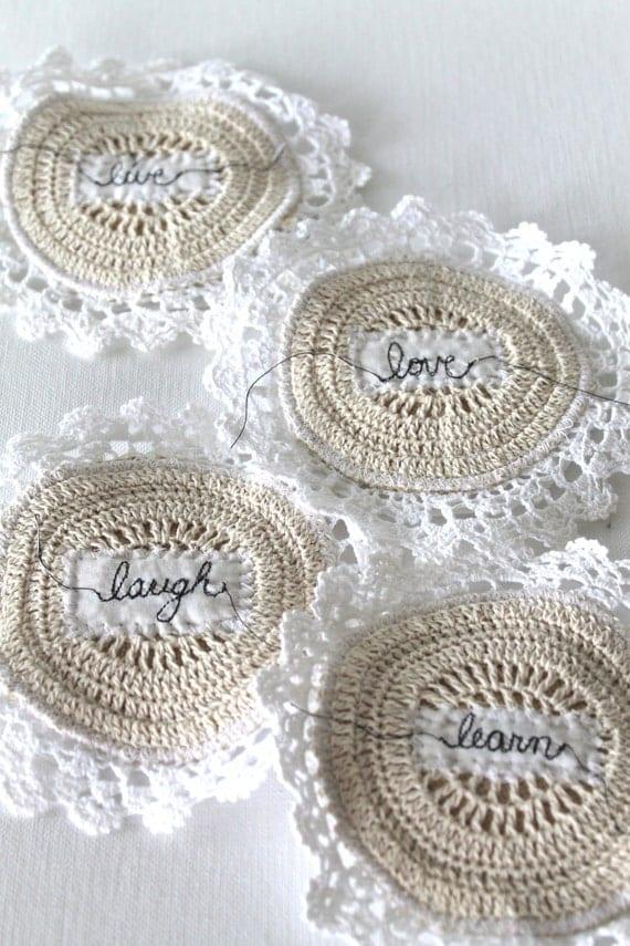 Лаванда Пакетики Круглый Crochet Lace Ароматические Мини Подушки Комплект из четырех