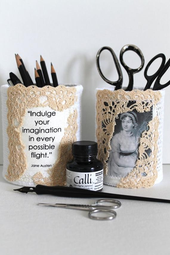 Desk Set Организатор Джейн Остин Цитата Вязание ручной Литературный Подарочный набор