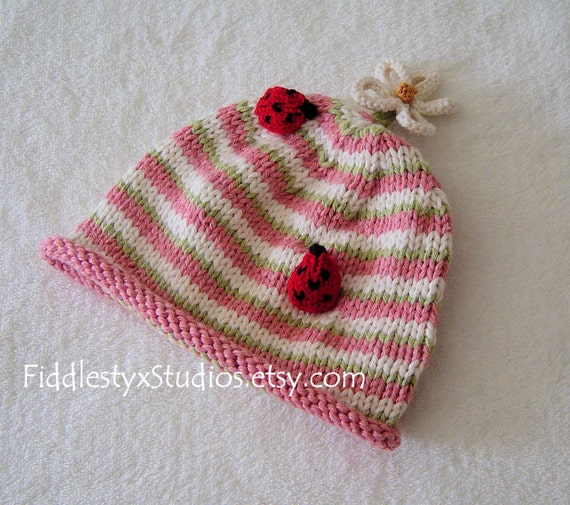 Spring Baby Girl Knitting Pattern Ladybug Pink Knitted Hat Easter Newborn Infant Toddler DIY PDF Knit Hat Pattern Kids Children Clothing