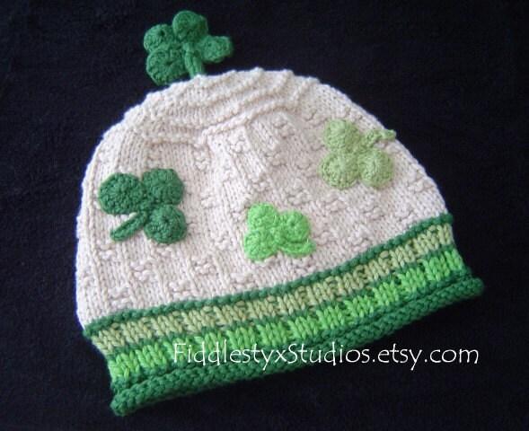 Green Shamrock 4 Leaf Clover Knitting Pattern Unisex St Patricks Day