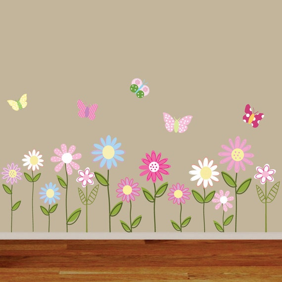 Vinyl Wall Decal Stickers Daisy Flowers Butterflies
