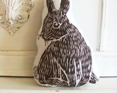 Plush Bunny Pillow. Woodblock Printed. Customizable Colors. Made to order. - LauraFrisk