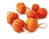 Pumpkin ornament tree felt Orange decor 4 piece - flowersofparadise
