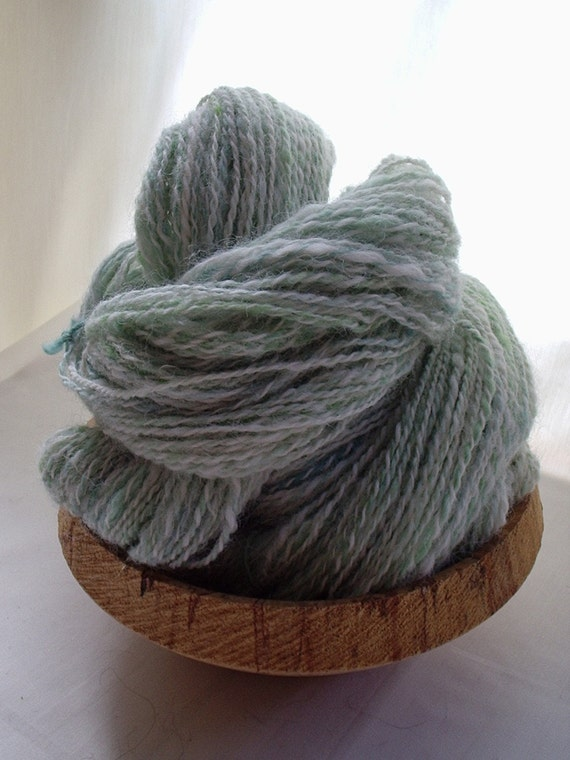 Handspun Yarn - Frosted Sage -  Blue Faced Leicester and Alpaca  Hand-painted 2 Ply