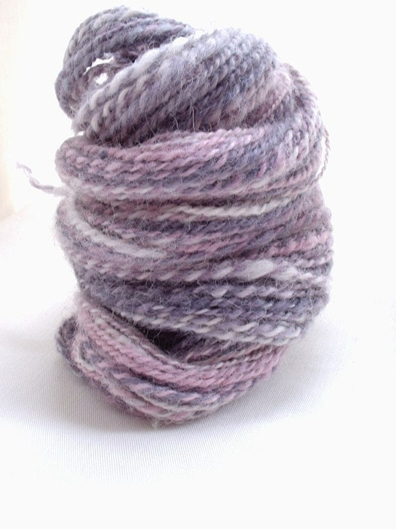 Handspun Yarn - Pink Lady Writes Purple Prose - Hand dyed, Alpaca 2 ply 2oz