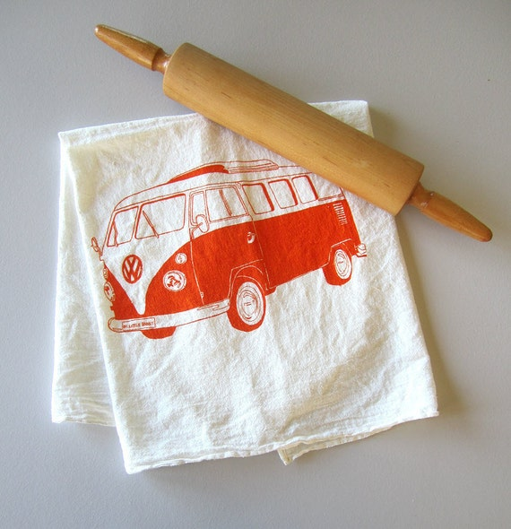 Screen Printed Organic Cotton VW Bus Flour Sack Tea Towel - Perfect Kitchen Towel for Dishes - Eco Friendly and Awesome
