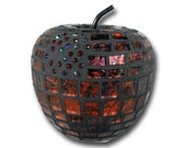 Mosaic Red Apple for home decor-Candy Apple red with glass bead accents Van Gogh glass tiles teacher gift mosaic fruit decor