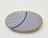 Modern Lace in Grey and Blue - Embroidery Hoop Art - Inspired by an Ocean Microbe - whatnomints