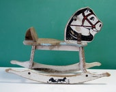 Charming 1950's Child's Rocking Horse Toy, Painted, Chippy, Rustic, White, Black, Light Blue - CathodeBlue
