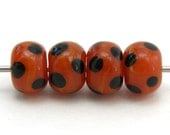 Dark Orange and Black Dots Lampwork Spacer Beads (4) - crazyladyglass