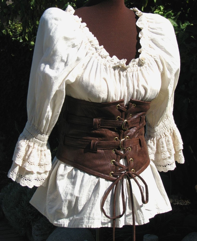 "Ready to Ship Lola Loves Leather STEAMPUNK, PIRATE, GOTHIC Extra Wide Waist Belt Waist Size 28 "" to 29 "" ."