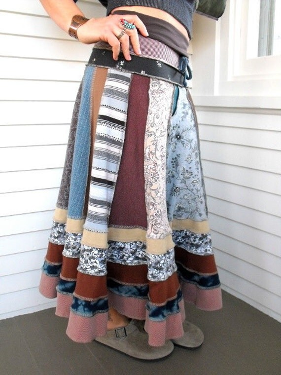 CUSTOM for Cait,1/2 down  payment,  Eco long patchwork boho SKIRT, repurposed jersey, Upcycled Clothing, you pick colors , size Xs-Lrg