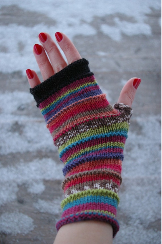 Hand - knit Fingerless gloves - Wool Arm warmers -  Fingerless gloves - Gift Idea for her  - Luxurious Fingerless Gloves nO 49.