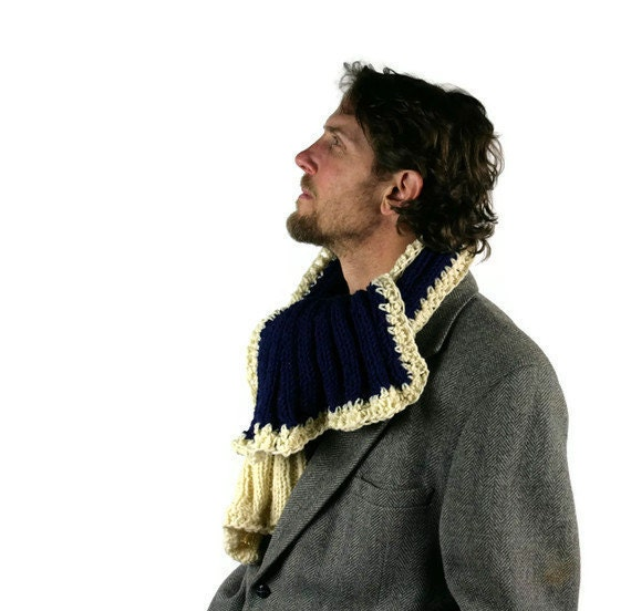 Vintage Scarf Hand Knit Mens Navy Cream by vetabartholomew on Etsy Hand Knitted Men's Scarves