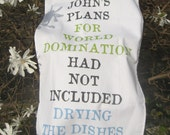 Personalised World Domination Tea Towel - flamingimp
