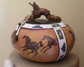 Carved Gourd Art Horses -Native Dancers -  Painted and Carved, Faux Beading - LeafSpirits