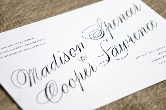 Astaire - Flat or Letterpress Wedding Invitation