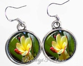 Yellow and Fuchsia Flower Art Earrings, Photo & Resin Charms Earrings - Silver 925 Hooks - Personalized Double Sided - BeatriziFashions