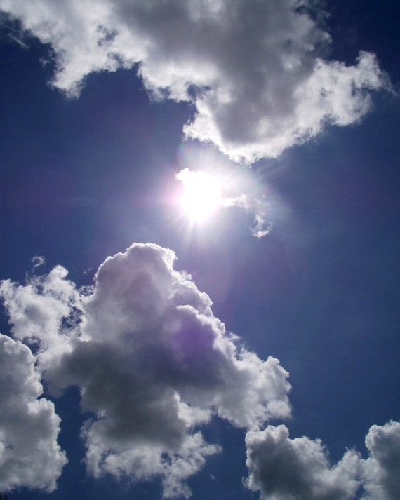 Sun Clouds Photography Blue Sky Home Decor BOGO 10x8 Print Looking Up...