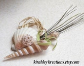 KELVANN -- Nautical Shell, Sea Urchin and Freshwater Pearl Grooms Boutonniere for Your Beach Wedding - KirahleyKreations