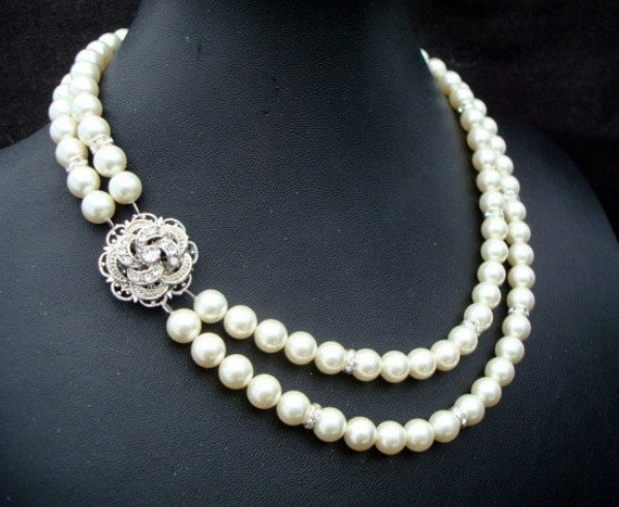 Bridal Rhinestone Necklace, Ivory Swarovski Pearls,  Bridal Pearl Necklace, Wedding Pearl Necklace, Statement Bridal Necklace, ROSELANI