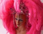 Wonderful Pink Feather Costume Headdress - londoncouture