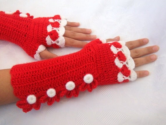 Red and White Color Crochet Fingerless Gloves-READY TO SHIP
