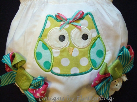 DIAPER COVER BLOOMERS -  Apple Green and Blue with Appliqued Owl