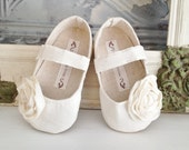 Christmas in July Toddler Shoes - Soft Soled - Ivory Cream Sizes 5-9 Wedding/ Flower Girl - BitsyBlossom