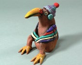 Whimsical Ceramic Bird Sculpture -  BOGY, He's No Old Fogey - ClayCompanions