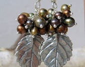 Sterling silver leaves with chocolate pearl clusters -- Free shipping - WhisperedSecrets