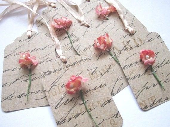 Французский сценарий шелковый цветочный подарок Метки Набор из 6