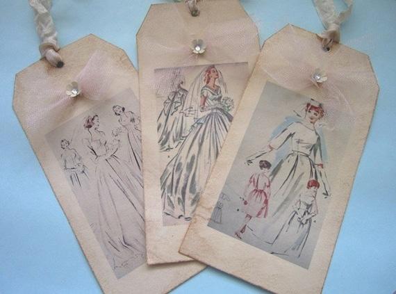 Потертый Vintage невеста подарков Метки Набор из 6