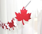 6 Foot - Maple Leaf Red and White Garland  -  Party Banner Garland perfect for Parties, Bridal or Baby Showers - GFetti