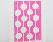 Modern Children's Decor Pink and White Print Linocut Art - Bulbs 8x10 Polka dot - RetroModernArt