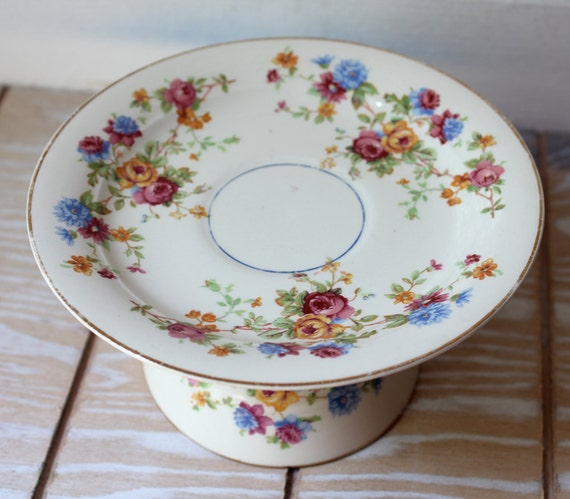 Cake plate dessert pedestal Small Cake Plate Cupcake Stand Vintage China and Teacup
