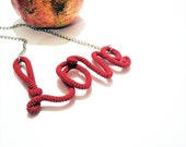 Scarlet Love Necklace Wrapped Crochet Tube Pendant - vanessahandmade