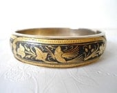 Vintage Spanish  Damascene Gold & Enamel Hinged Bracelet - Etched Bird of Paradise and Floralain - 1950 - FlossysTreasures